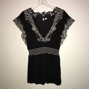 Anthropologie Moth Black Peplum Embroidered Top